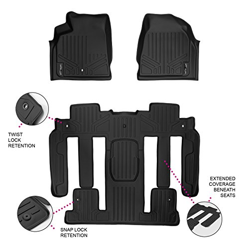 MAXFLOORMAT Floor Mats NEW FULL COVERAGE for Traverse / Enclave / Acadia / Outlook with Bucket Seats 3 Row Set (Black)