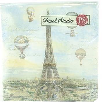 Punch Studio Luncheon Napkins- #43204 Balloons Over Paris: Amazon.co ...