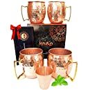 Moscow Mule Copper Mugs Set Of 4 (Four). By Knooop. Pure Solid Hammered Copper Mules, A Premium Gift Set Kit. Drink Healthy From Unlined 16 Oz (16-ounce) 100 % Copper Cups.