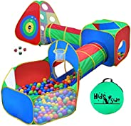 5pc Kids Ball Pit Tents and Tunnels, Toddler Jungle Gym Play Tent with Play Crawl Tunnel Toy, for Boys babies
