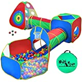 5pc Kids Ball Pit Tents and Tunnels, Toddler Jungle Gym Play Tent with Play Crawl Tunnel Toy, for Boys babies infants Children, w/ Basketball Hoop, Indoor & Outdoor Gift, Target Game w/ 4 Dart Balls