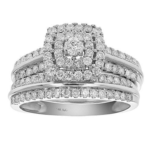 1 CT Diamond Halo Cushion Wedding Engagement Ring Set 14K White Gold in Size 7