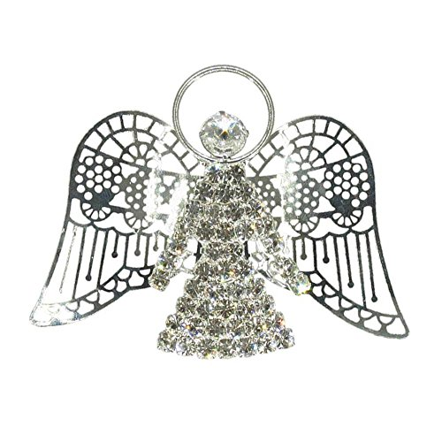 - Handmade Angel Brooch (Vintage Silver Plated Crystal Angel Pin Jewelry RSP4005-S)