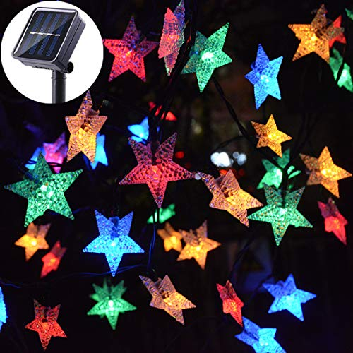 Viewpick Solar Star String Lights Outdoor Multicolor LED Star Twinkle Christmas Fairy Lights Garden Landscape Colorful Decor Lights for Patio Yard Lawn Patio Xmas Tree(30ft 50LED) (30' String)