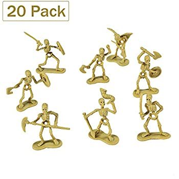 Pack Of 20 Skeleton Warrior Figures 1 X 2.5 Inches - Cool And Fun Skeleton Army Miniatures Toys - For Kids Great Party Favors, Bag Stuffers, Fun, Toy, Gift, Prize - By Kidsco