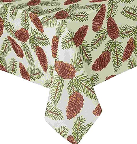 St Nicholas Square Woven Pine Cone Print Tablecloth Fabric Pinecone 70 Round (Kohls Christmas Tablecloths)