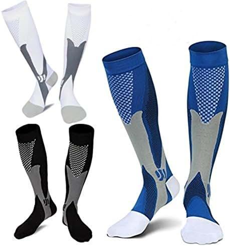 3 Pairs Medical&Althetic Compression Socks for Men, 20-30 mmHg Nursing Performance Socks for Edema, Diabetic, Varicose Veins,Shin Splints,Running Marathon (Blue+Black+White)