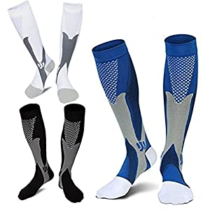 3 Pairs Medical&Althetic Compression Socks for Men,20-30 mmHg Nursing Socks for Edema Diabetic Varicose Veins Running…