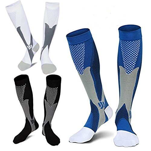 14 Inch Premium Boots - 3 Pairs Medical&Althetic Compression Socks for Men, 20-30 mmHg Nursing Performance Socks for Edema, Diabetic, Varicose Veins,Shin Splints,Running Marathon (Blue+Black+White)