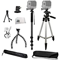 Complete Tripod Kit for the GoPro Hero Hero2 Hero3 Hero3+ Hero4 Hero+ LCD Hero+ & Hero5 Includes: 50 3 Way Pan Head Tripod, 72 Monopod, Gripster Tripod & Mini Table Top Tripod