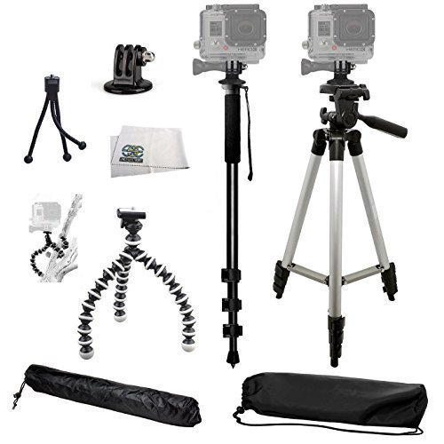 SSE® Complete Tripod Kit for the GoPro Hero, Hero2, Hero3, Hero3+, Hero4, Hero+ LCD, Hero4 Session, & Hero+ Cameras. Includes: 50