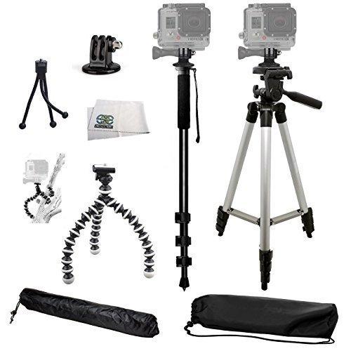 "SSE® Complete Tripod Kit for the GoPro Hero, Hero2, Hero3, Hero3+, Hero4, Hero+ LCD, & Hero+ Cameras. Includes: 50"" 3 Way Pan Head Tripod, 72"" Monopod, Gripster Tripod & Mini Table Top Tripod"