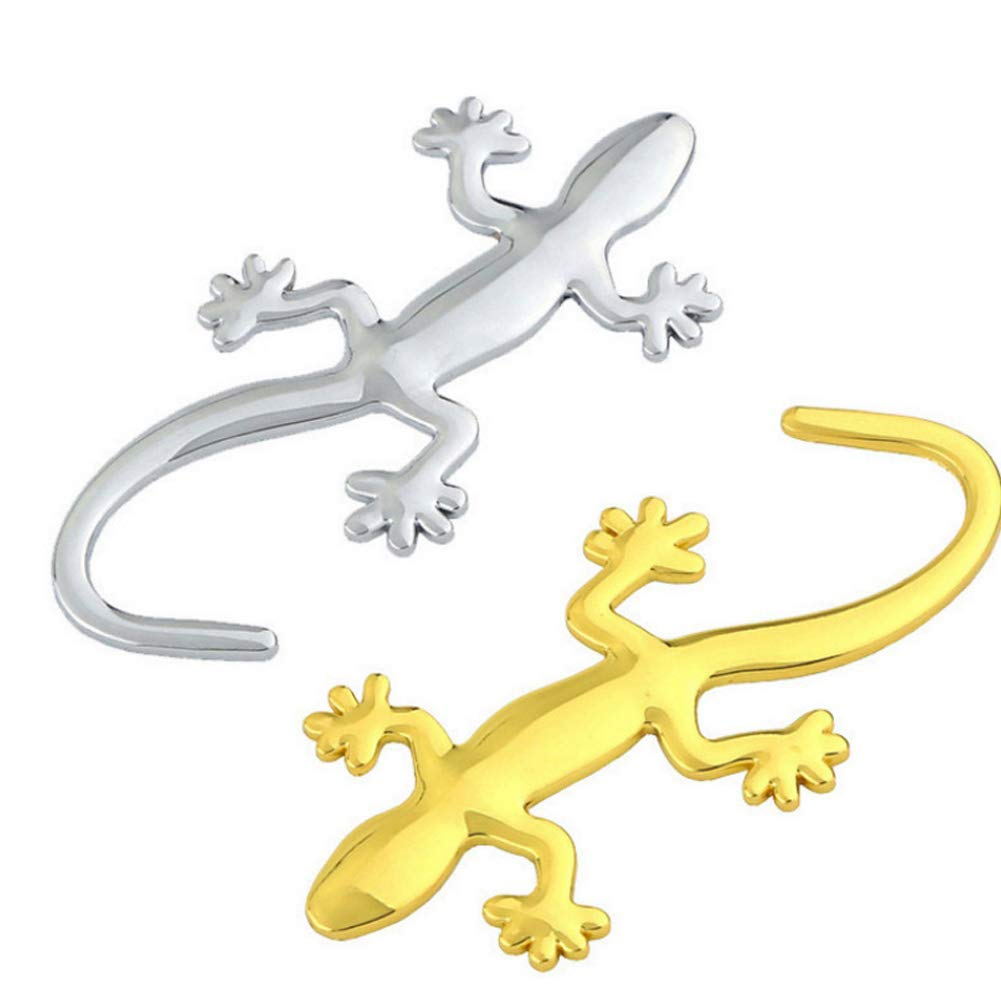 3D Gecko Metal Chrome Sticker Decal Auto Car Badge Emblem Decal Decoration Silver Gold Gold RONSHIN Cars Electronics Accessories