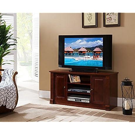 Kings Brand Furniture TV Console Stand 47 Dark Walnut