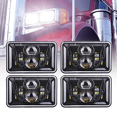 4pcs 60W Rectangular 4×6 Led Headlights Dot Approved H4656 H4651 H4652 H4666 H6545 Headlight Replacement for Freightliner Peterbilt Kenworth Chevrolet Oldsmobile Cutlass Trucks – Black