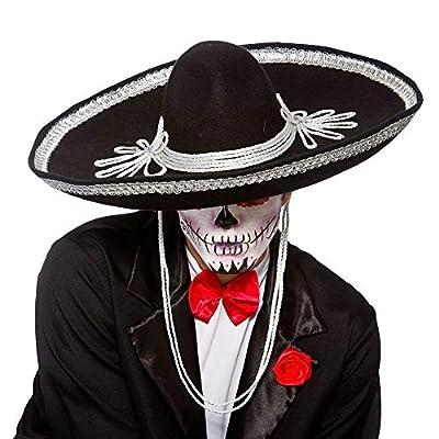 HalloweenAroundCorner.com Large Black Mexican Mariachi Sombrero Party HAT: Clothing