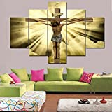 Living Room Wall Decor Jesus of Nazareth(Jesus Christ) Crucified Canvas Painting 5 Piece Celebrated Christmas Easter Pictures Home Decor,Artwork Framed Gallery-Wrapped Ready to Hang(60''Wx40''H)