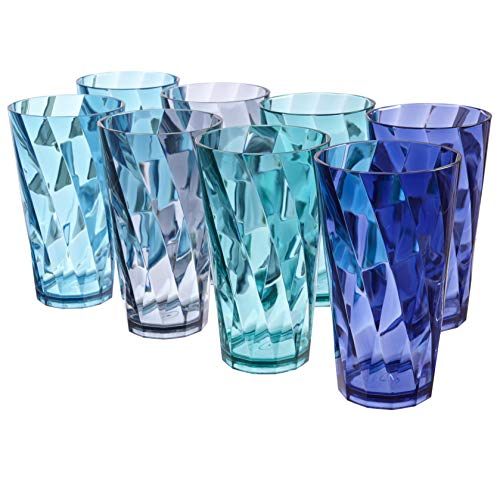 (Optix 20-ounce Plastic Tumblers | set of 8 in 4 Coastal Colors)
