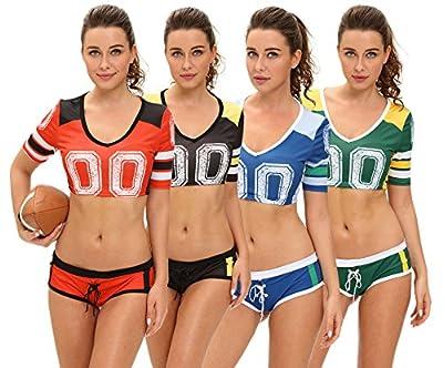 Women's Halloween Cosplay Fantasy Football Cheerleader Sexy Crop Top Champions Night Costume