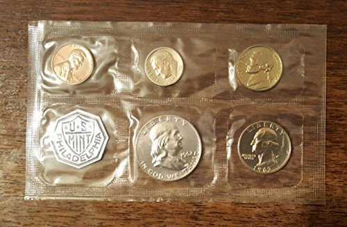 50 Cent Proof Coin - 1962 U.S. Mint 5 Piece Proof Coin Set 1, 5, 10, 25, 50 cents Brilliant Uncirculated