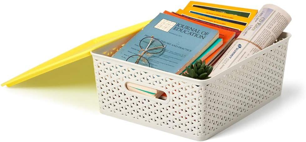 EZOWare 3er-Set Extra-gro/ß Aufbewahrungsboxen//Kisten mit Deckel//Stapelboxen Kunststoff 42 x 36 x 16cm Hellgrau und Gelb