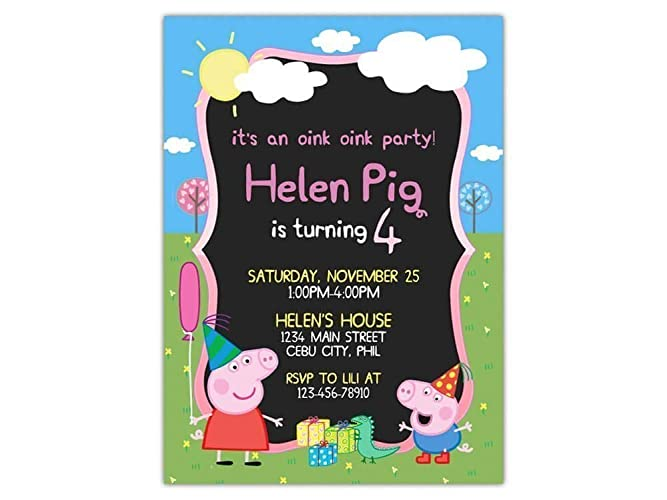 Custom Peppa Pig Birthday Party Invitations For Kids 10pc 60pc 4x6 Or 5x7 Cards With White Envelopes Printed On Premium 265gsm Card Stock In