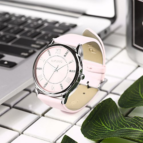 AIKURIO Women Ladies Wrist Watch Waterproof Quartz Watch with Crystal Dial Clock Leather for Female Luxury Fashion Business Classic (Pink) by AIKURIO (Image #5)'