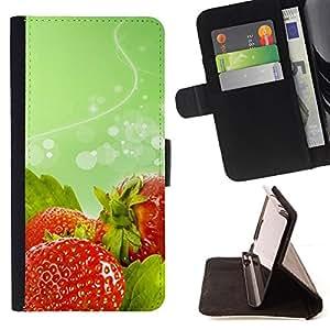 - Fruit Macro Wet Strawberries - - Monedero PU titular de la tarjeta de cr????dito de cuero cubierta de la caja de la bolsa FOR Sony Xperia Z3 D6603 RetroCandy