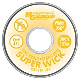 MG Chemicals Desoldering Braid #2 Fine Braid Super Wick with RMA Flux, 500' Length x 0.05'' Width, Yellow