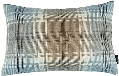 McAlister Textiles Angus | Tartan Plaid Throw Pillow Cover in Duck Egg Blue | Lumbar 12 x 20 in | Decorative Striped Woven Cushion Sham Case for Sofa and Bedroom Country Cabin Accent Decor