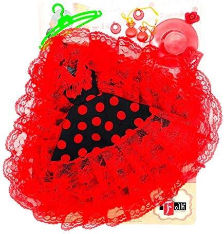 casta/ñuelas Percha y Sombrero para Barbie Blanco Lunar Rojo peinetas Pendientes Folk Artesan/ía Vestido Cola andaluza Flamenca Fabricado en Espa/ña