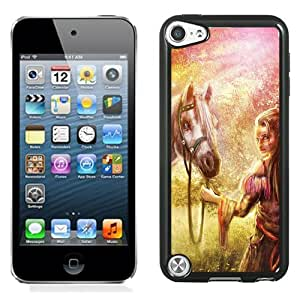 Beautiful And Unique Designed With Girl Horse Wood Art Nature Fantasy For iPod 5 Phone Case
