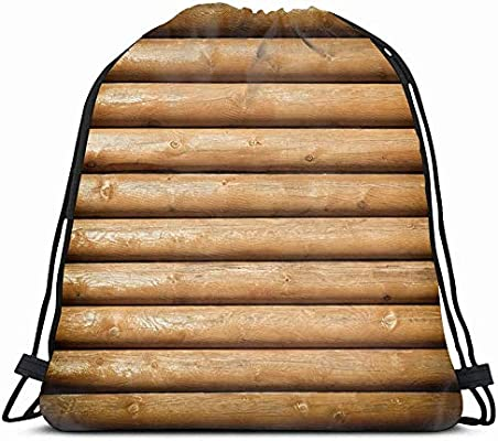 Drawstring Backpack String Bag 14X16 Brown Cabin Wooden Logs ...