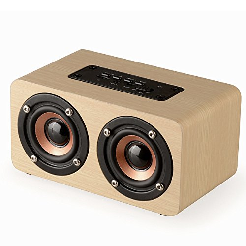 EIVOTOR 10W Portable Wireless Bluetooth Speaker with Super Bass - Bamboo Wood Home Speaker Support TF Card Builtin Mic and Battery (Bamboo Response Card)