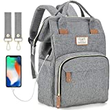 Diaper Bag Backpack with USB Charging Port and Stroller Straps, Maternity Nappy Bag