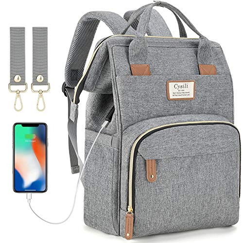 Diaper Bag Backpack with USB Charging Port and Stroller Straps, Maternity Nappy Bag with Insulated Feeding Bottle Pockets & Changing Pad Pocket, Waterproof Travel Backpack (Grey)