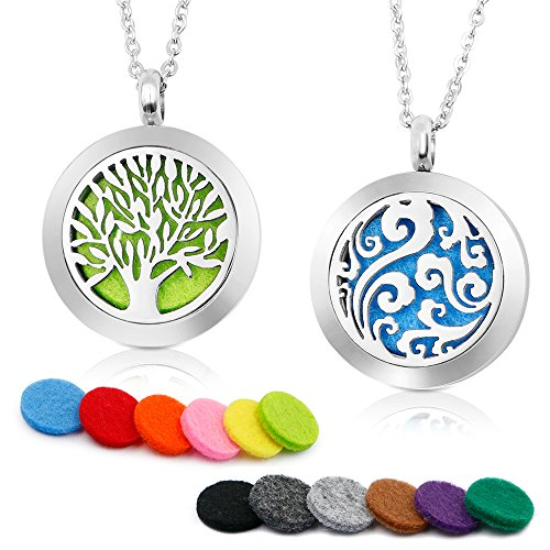 "RoyAroma 2PCS Aromatherapy Essential Oil Diffuser Necklace Two Patterns Pendant Locket Jewelry,23.6"" Adjustable Chain Stainless Steel Perfume Necklace"