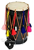 Maharaja Musicals Bhangra Dhol Drum, Mango Wood, Black, Barrel Shaped, Padded Bag, Beaters, Nylon Strap, Punjabi Dhol Drum (PDI-CE)