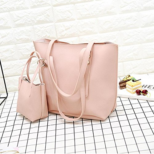 Handbag 4Pcs Messenger Bag Classic Bag Pink Womens Tote Purse Vintage Crossbody Bag Women Clearance Halijack Beach Leather Sale Party Wallet Shoulder Casual Satchels Bag Pattern w7EIBqZ4