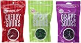 Sweet's Sours Candy Balls 3 Flavor Variety Bundle: (1) Sweet's Sour Cherry Balls, (1) Sweet's Sour Apple Balls, and (1) Sweet's Sour Grape Balls, 7 Oz. Ea. (3 Bags Total)