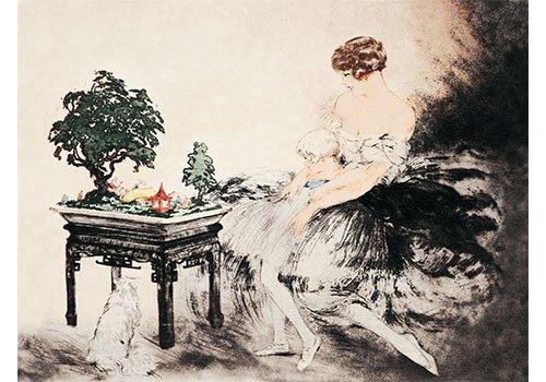 Le Jardin Japonais by Louis Icart Vintage Victorian Fine Art Print Poster (16 x -