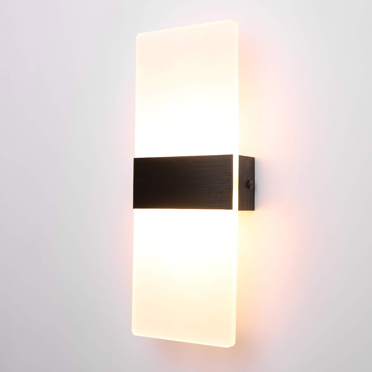 ALLTRUST Modern Acrylic 12W LED Wall Sconces Aluminum Lights Decorative Lamps Night Light Plug in Cord with on/Off Switch for Indoor Use