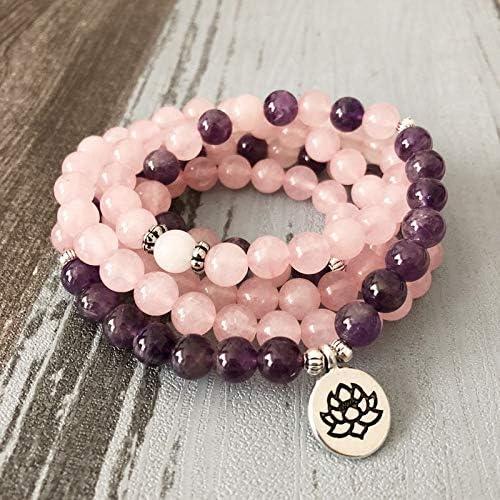 Mujer Mala Collar Pulseras para Las Mujeres Rosa Cuarzos Amatistas Pulsera De Yoga Mala Lotus 108 Cuentas Pulsera Rosa