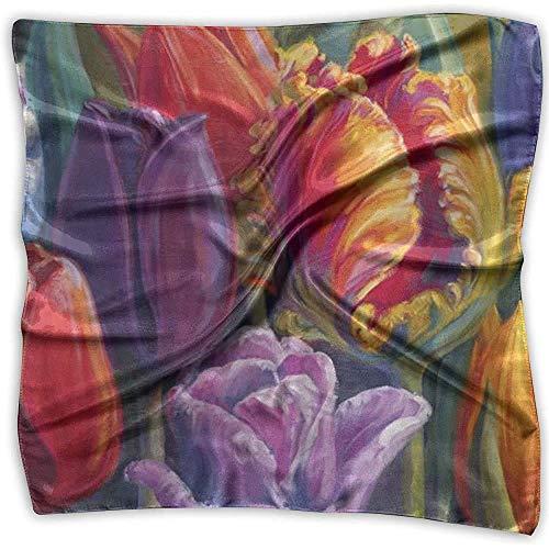 Diadema cuadrada, hermosa diadema de tulipan con pintura al oleo, diademas ligeras para proteccion UV al aire libre, 100X1