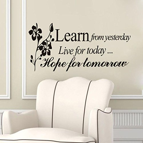 Wall Stickers, ღ Ninasill ღ Learn From Yesterday Family Love Art Wall Quotes Wall Stickers Wall Decals (69x30cm, Black)