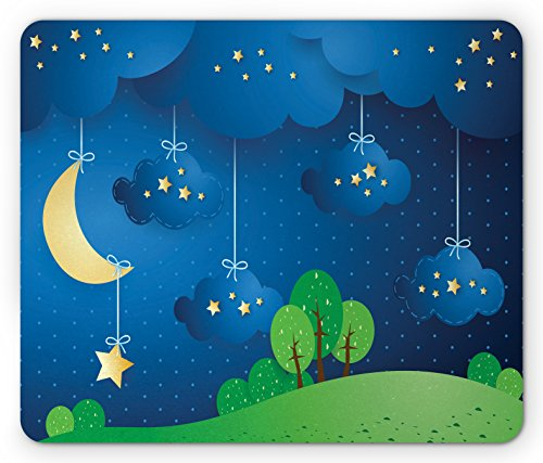 Lunarable Sweet Dreams Mouse Pad, Hanging Moon Stars and Clouds Hills Trees on Dotted Background, Standard Size Rectangle Non-Slip Rubber Mousepad, Pale Yellow Blue and Green