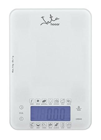 Jata Hogar 762 Balanza electrónica dietética, Capacidad 5kg, 0 W, 5 litros, 0 Decibeles, Cristal Blanco: Amazon.es: Hogar