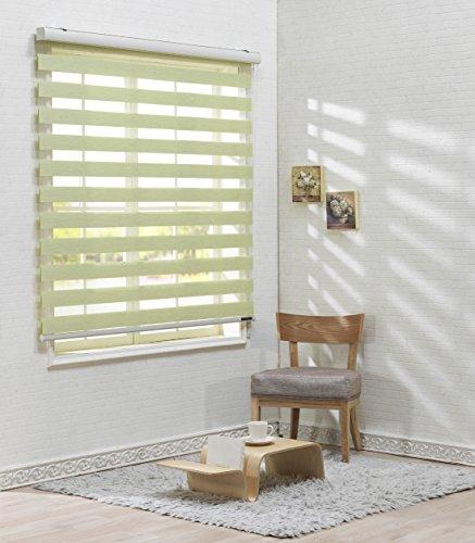Foiresoft Custom Cut to Size, [Winsharp Woodlook 64, Light_Green, W 39 x H 64 inch] Horizontal Window Shade Blind Zebra Dual Roller Blinds