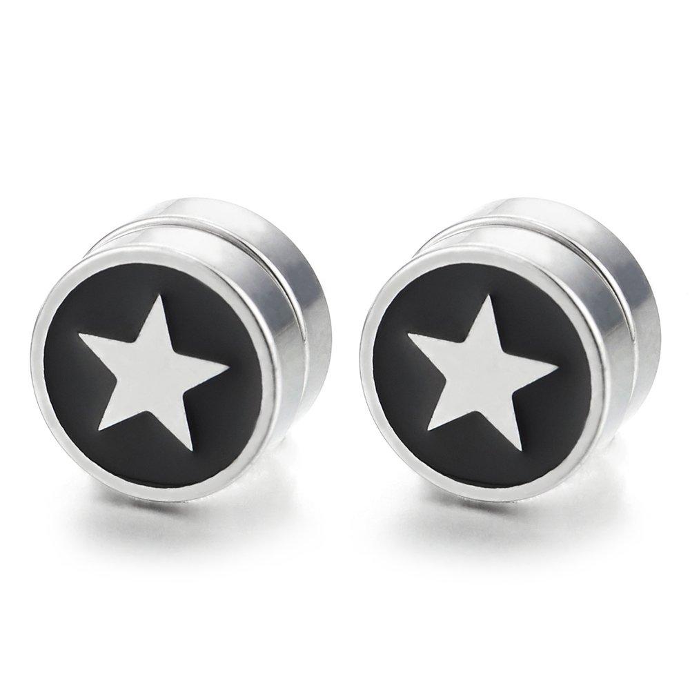 10MM Acero Inoxidable Magnética Estrella Círculo Pendientes con Negro Esmalte, Click-on Fake Piercing, Hombre Mujer COOLSTEELANDBEYOND ME-1309-EU