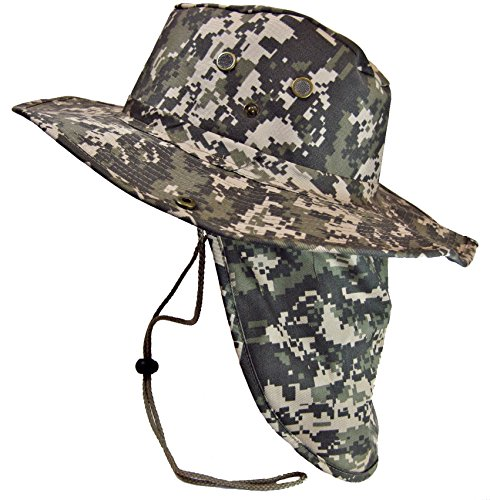 Boonie Bush Safari Outdoor Fishing Hiking Hunting Boating Snap Brim Hat Sun Cap with Neck Flap (Digital Camo, L)